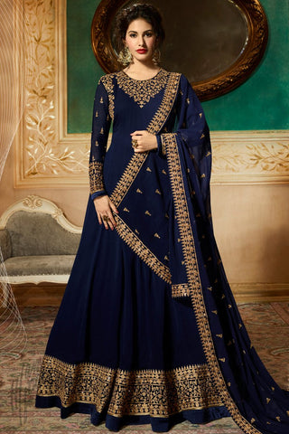 Navy Blue Georgette Floor Length Anarkali Suit