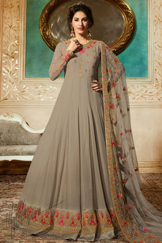 Beige Georgette Floor Length Anarkali Suit