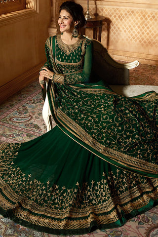 Bottle Green Georgette Floor Length Anarkali Suit