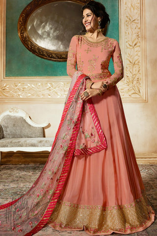Peach Georgette Floor Length Anarkali Suit