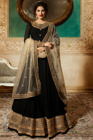 Black Georgette Floor Length Anarkali Suit