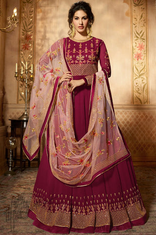Magenta Georgette Floor Length Anarkali Suit
