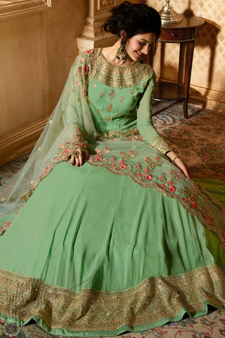 Mint Green Georgette Floor Length Anarkali Suit
