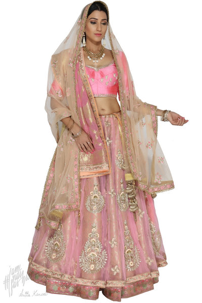 Pink and Peach Banarasi Silk Bridal Lehenga Set With Two Dupattas