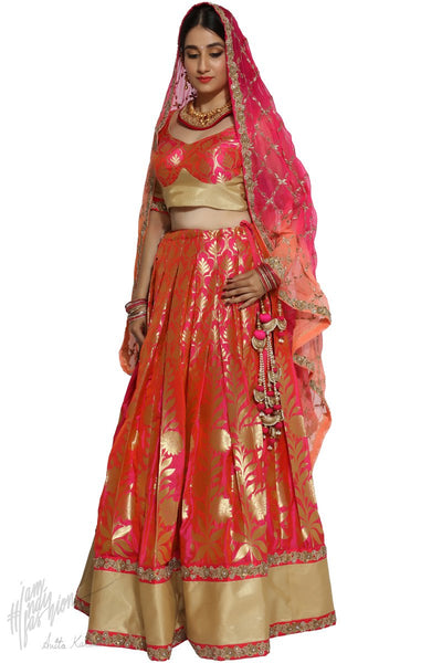 Pink Peach and Orange Banarasi Silk Bridal Lehenga Set