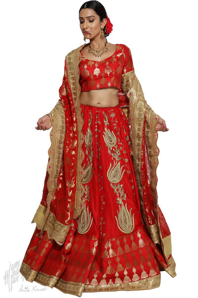 Red and Gold Silk Bridal Lehenga Set