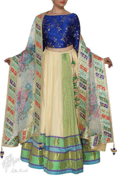 Off White and Navy Blue Kangivaram Silk Wedding Lehenga Set