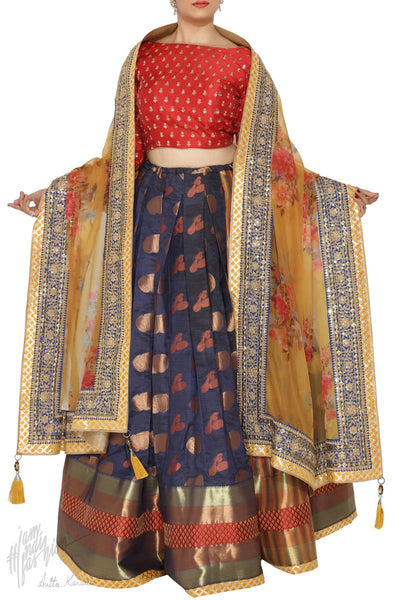 Blue Mustard and Red South Silk Wedding Lehenga Set