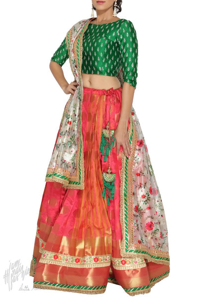 Carrot Pink White and Green South Silk Wedding Lehenga Set