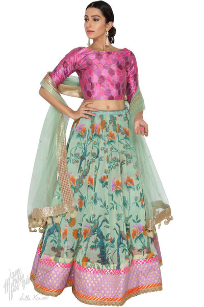 Aqua Green and Mauve Organza Silk Wedding Lehenga Set