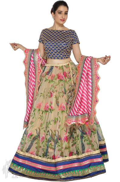 Beige Pink and Navy Blue Organza Silk Wedding Lehenga Set