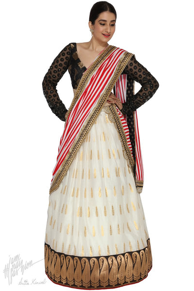 Off White and Black Chanderi Silk Wedding Lehenga Set
