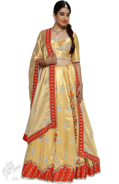 Golden Yellow and Rust Satin Silk Bridal Lehenga Set