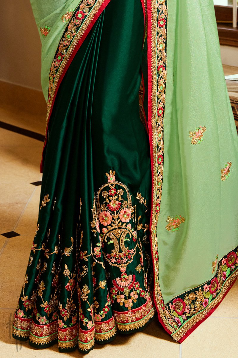 Bottle And Pista Green Half and Half Crepe Saree