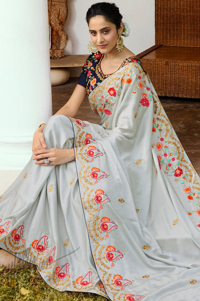 Silver Gray and Navy Blue Saree