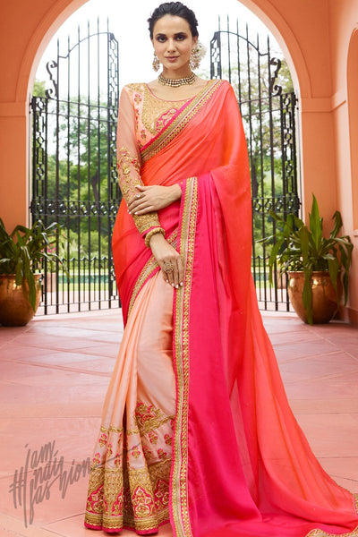 Pink Peach and Magenta Shaded Half and Half Silk Saree