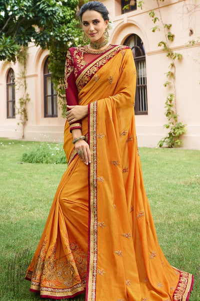 Mustard and Wine Cotton Silk Saree