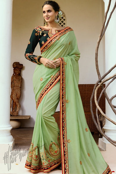 Pista and Bottle Green Silk Saree