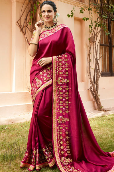 Wine and Beige Silk Saree