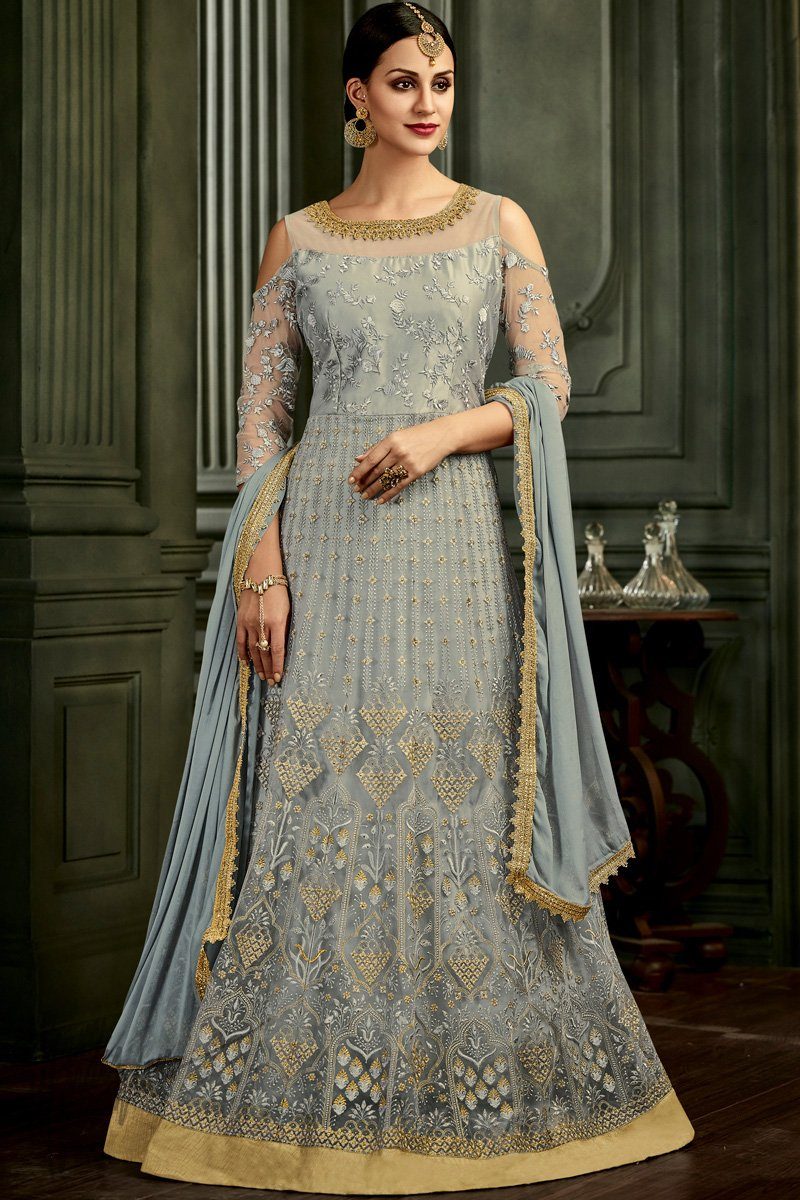 Gray Butterfly Mono Net Floor Length Anarkali Suit
