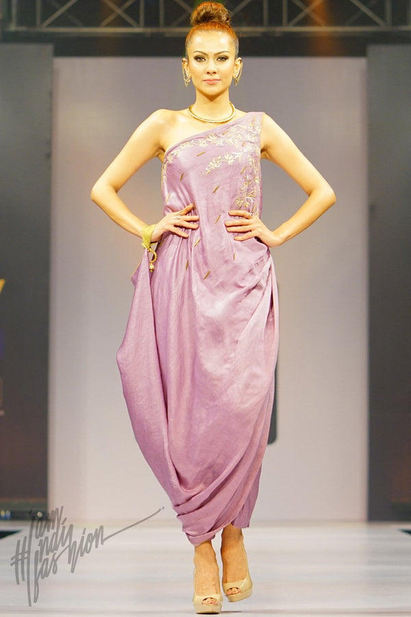 Light Mauve Linen Satin Off Shoulder Dress with Pants