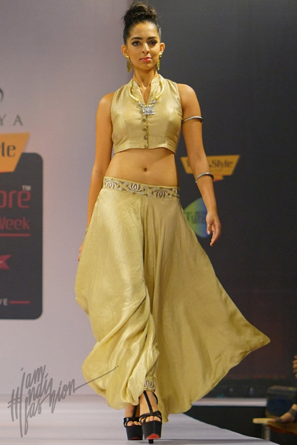 Pale Golden Rod Linen Satin Bias Cut Dhoti with Crop Top