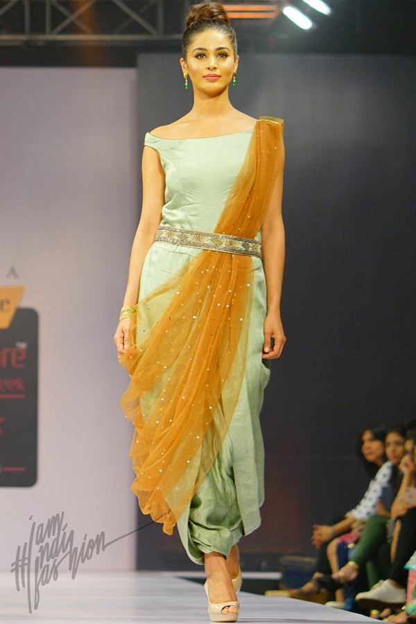 Sea Green and Brown Linen Satin Dhoti Jumpsuit with Net Dupatta