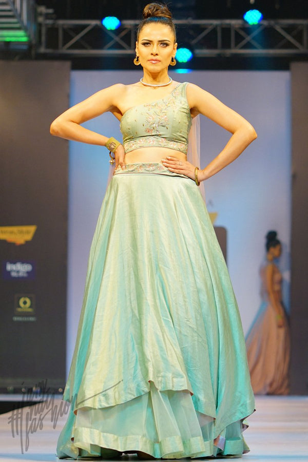 Aquamarine and Peach Linen Satin Skirt With One Shoulder Crop Top and Dupatta