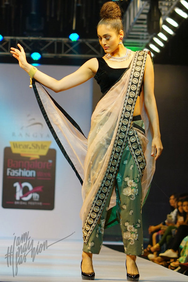 Black Peach and Jade Green Velvet and Organza Silk Saree with Baggy Pants