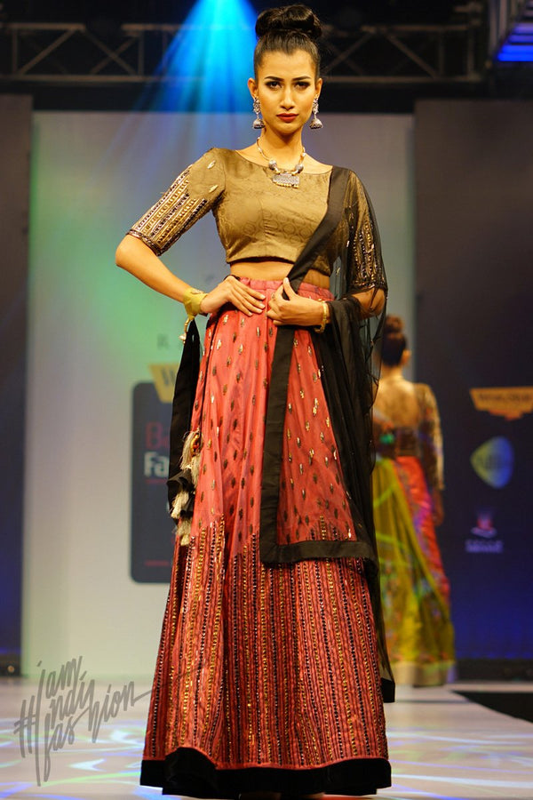 Rosewood Maroon and Khakhi Pure Brocade and Dupion Silk Lehenga Set