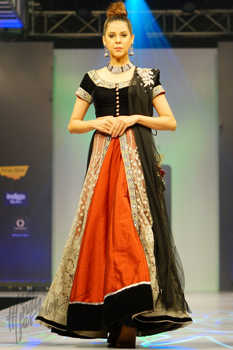 Silver Maroon and Black Velvet Net and Silk Layered Lehenga Set