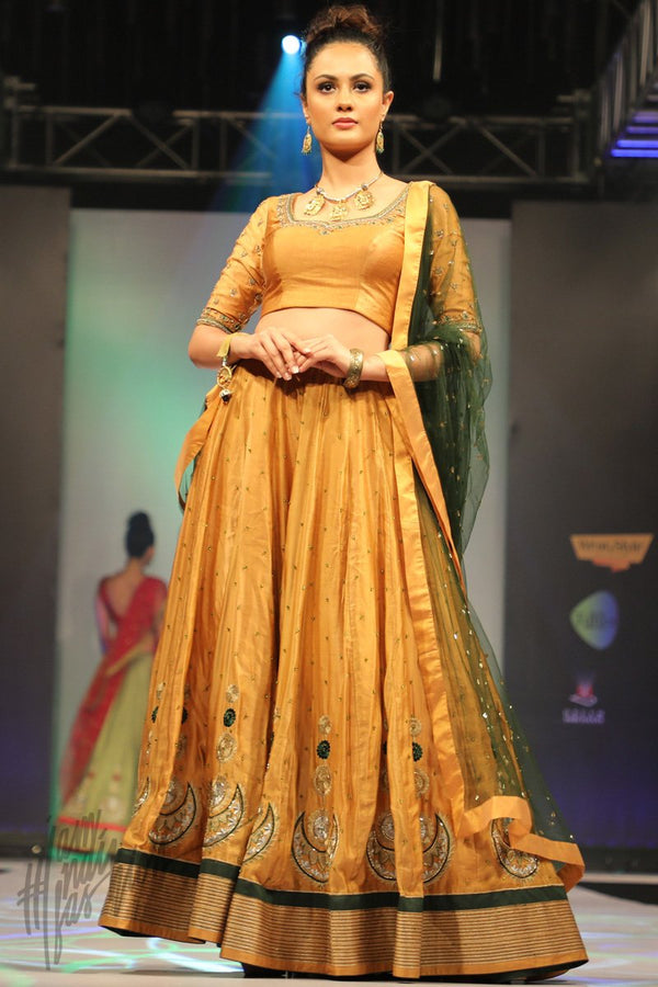 Apricoat Yellow and Bottle Green Linen Satin Lehenga Set