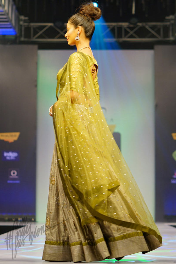 Ash Gray and Olive Green Linen Satin Lehenga Set