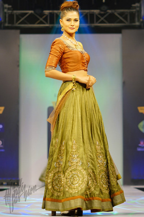 Copper and Sage Green Linen Satin Lehenga Set