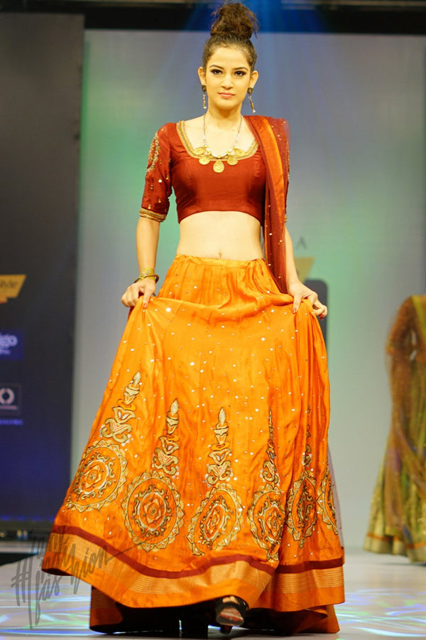 Maroon and Orange Linen Satin Lehenga Set