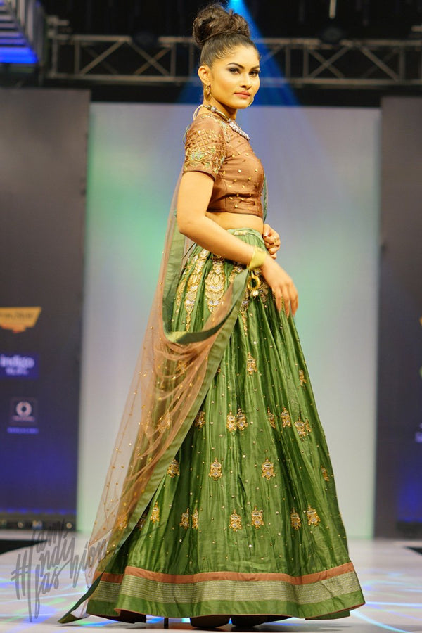 Copper and Green Linen Satin Lehenga Set