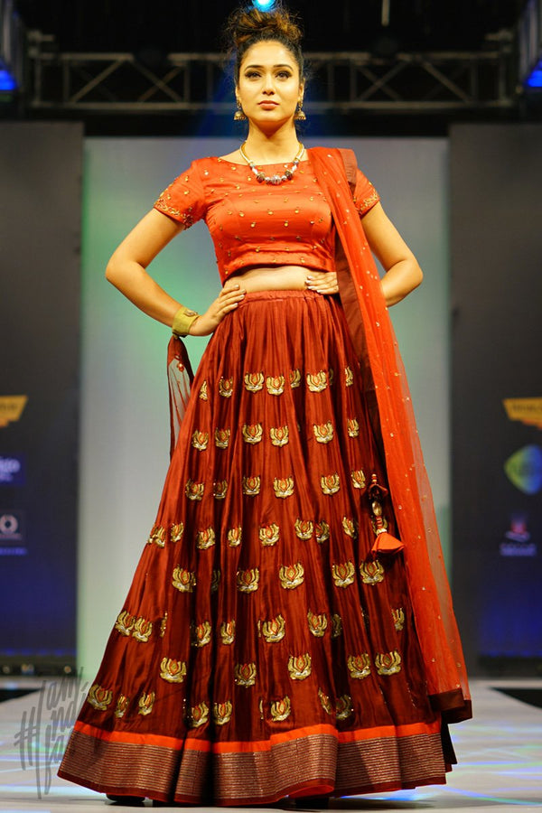 Red and Maroon Linen Satin Lehenga Set