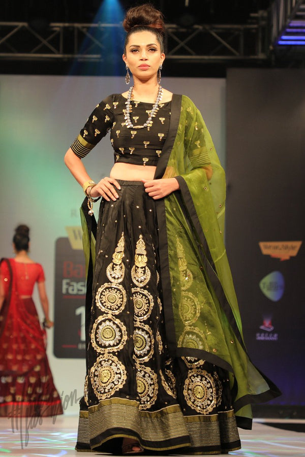 Black and Olive Linen Satin Green Lehenga Set