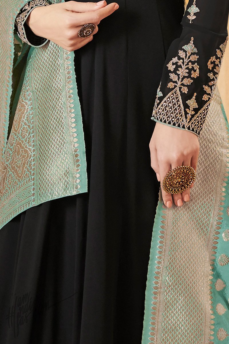 Black Green and Teal Georgette Party Wear Suit