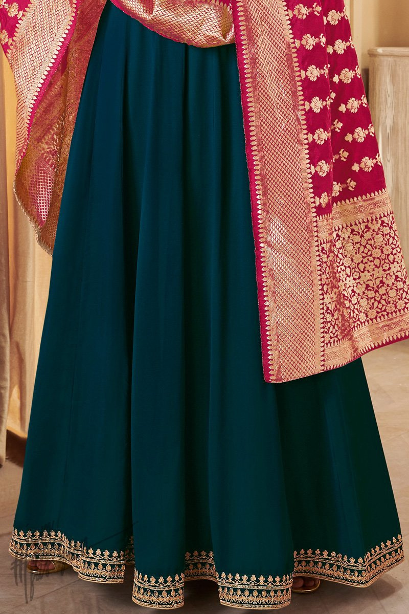 Turquoise and Maroon Georgette Party Wear Suit
