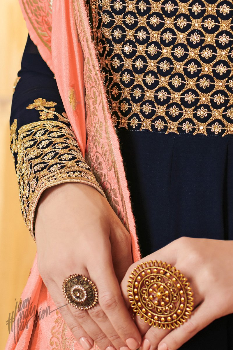 Navy Blue and Peach Georgette Party Wear Suit