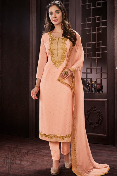 Light Peach Georgette Party Wear Straight Suit