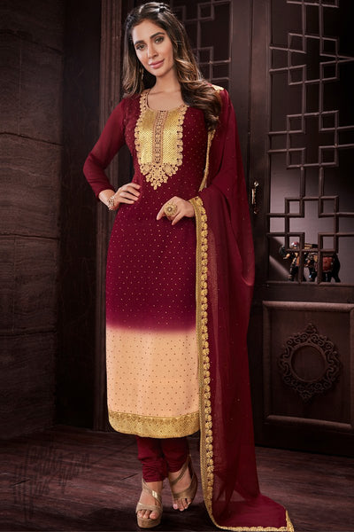 Wine and Peach Georgette Party Wear Straight Suit