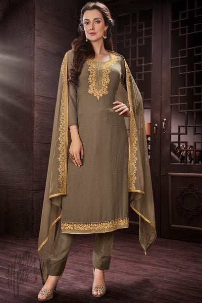 Sage Green Georgette Party Wear Straight Suit
