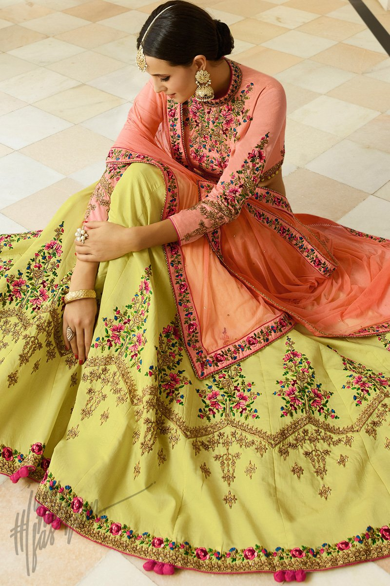 Lemon Yellow and Peach Barfi Silk Lehenga Set
