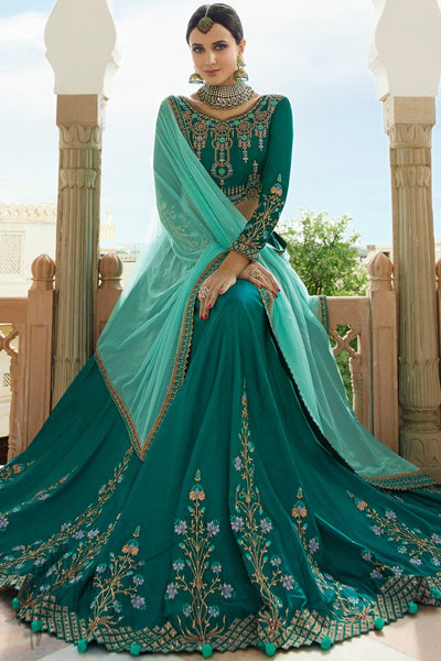 Teal and Sky Blue Barfi Silk Lehenga Set