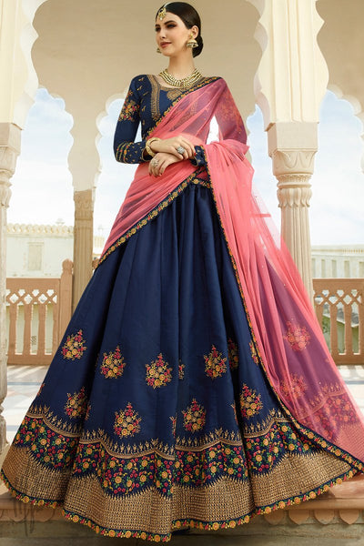 Navy Blue and Pink Barfi Silk Lehenga Set