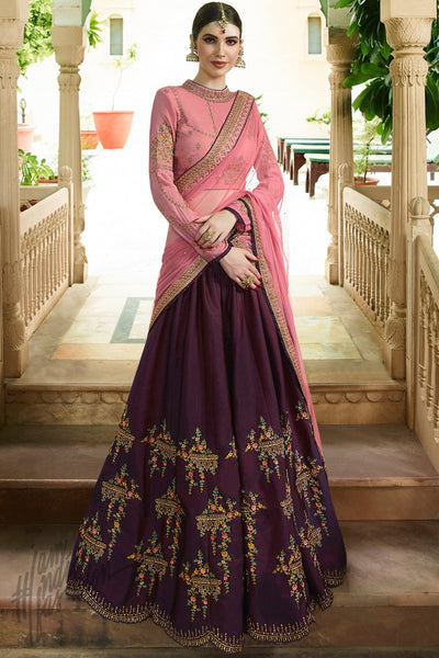 Wine and Light Mauve Barfi Silk Lehenga Set