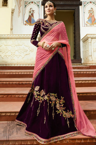 Wine and Pink Velvet Lehenga Set