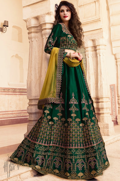 Dark Green and Mustard Barfi Silk Lehenga Set